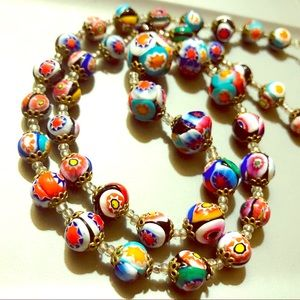 🏵Vintage Venetian Millefiori Glass Bead Necklace